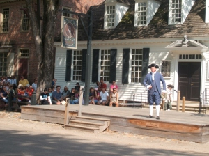 Patrick Henry addressing the public about the unfair tax on tea