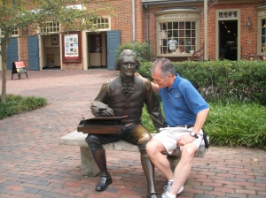 Thomas Jefferson and me working on the wording of a declaration